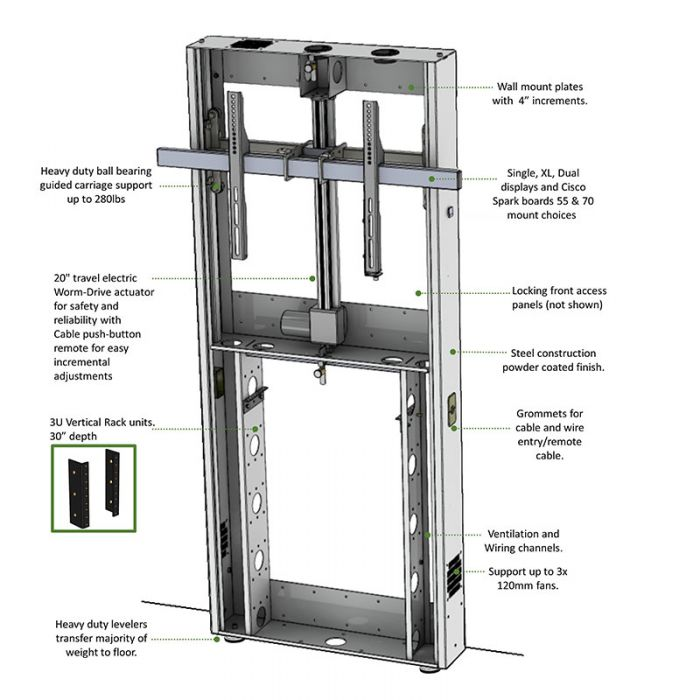 LFT7000WM Wall Mounted Lift Stand For Single & Dual Monitors