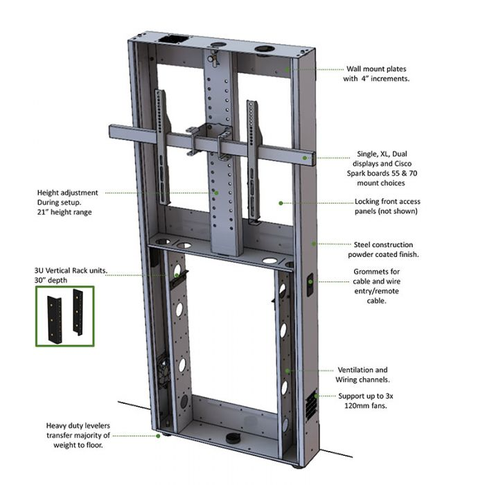 Heavy Duty Wall Anchored Stand for Single/Dual Monitors